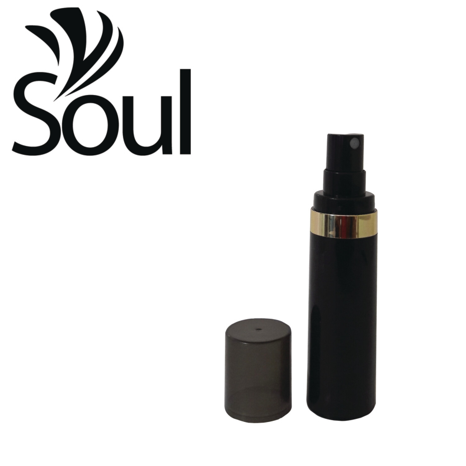 30ml - Round Plastic Black Bottle Goldline Airless Spray