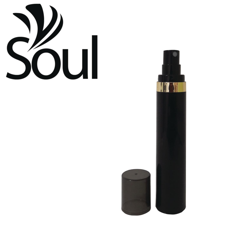 50ml - Round Plastic Black Bottle Goldline Airless Spray