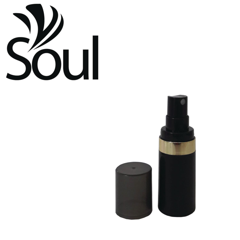 15ml - Round Plastic Black Bottle Goldline Airless Spray