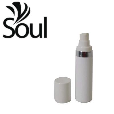 30ml - Round Plastic White Bottle Silverline Airless Pump