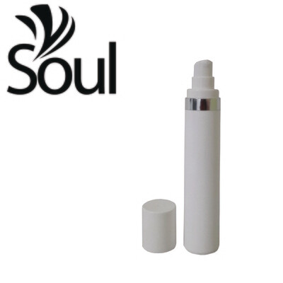 50ml - Round Plastic White Bottle Silverline Airless Pump