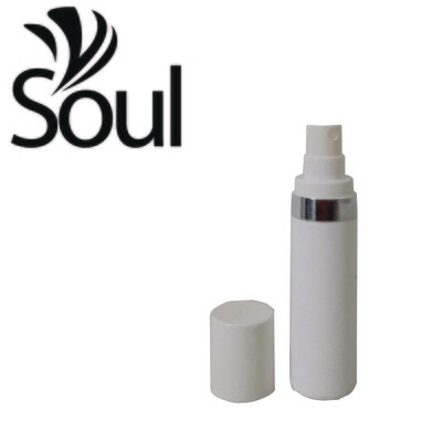 30ml - Round Plastic White Bottle Silverline Airless Spray