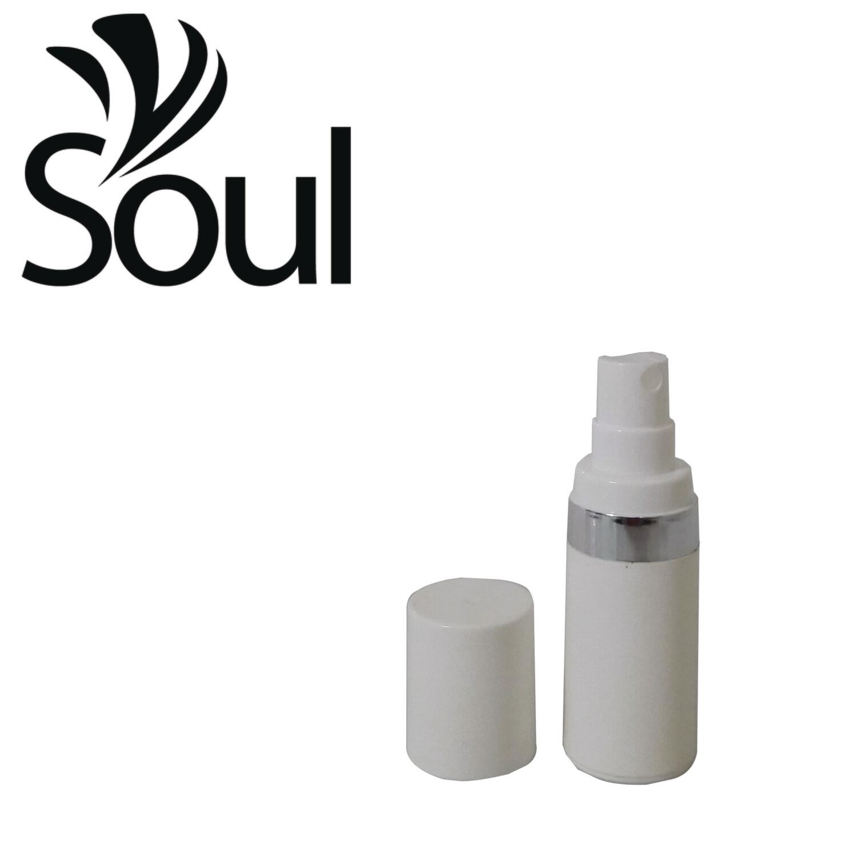 15ml - Round Plastic White Bottle Silverline Airless Spray