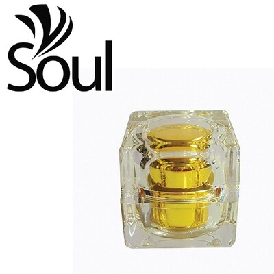 10g - Square Crystal Acrylic Cream Jar Gold