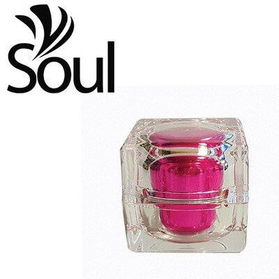 10g - Square Crystal Acrylic Cream Jar Pink