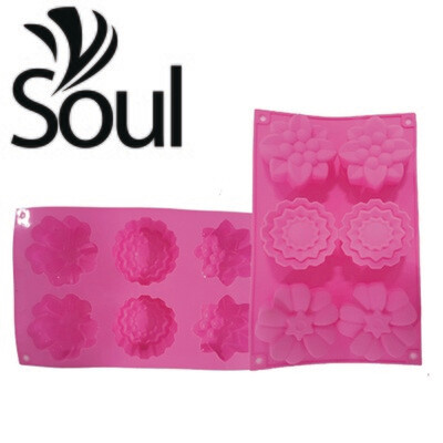 SM - 6x100g Soap Mould 3 type flower