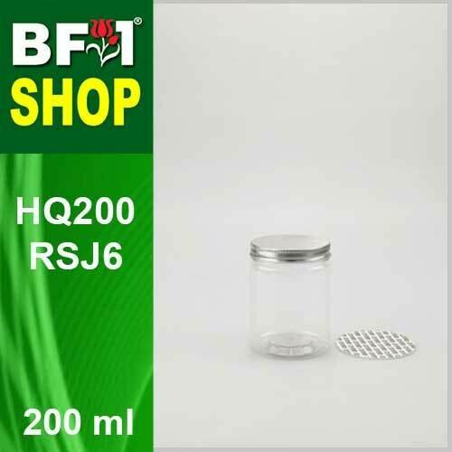 """200ml - HQ200RSJ6 - 65MM Pet Jar with """"Aluminium"""" Screw Cap"""