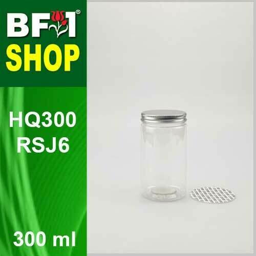 """300ml - HQ300RSJ6 - 65MM Pet Jar with """"Aluminium"""" Screw Cap"""