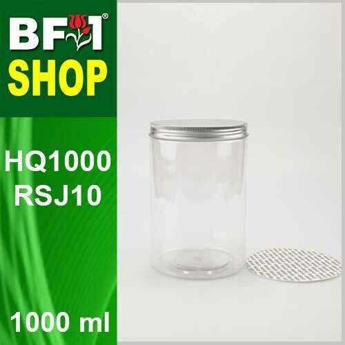 """1000ml - HQ1000RSJ10 - 100MM Pet Jar with """"Aluminium"""" Screw Cap"""