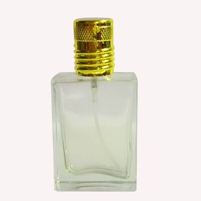 30ml Square Transparent Spray Bottle With Gold Cap