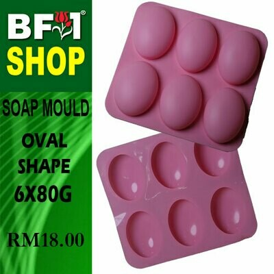 SM - 6x80g Soap Mould Oval Shape
