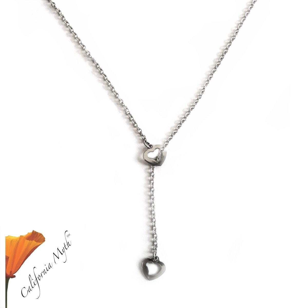 Adjustable Y Hearts Necklace