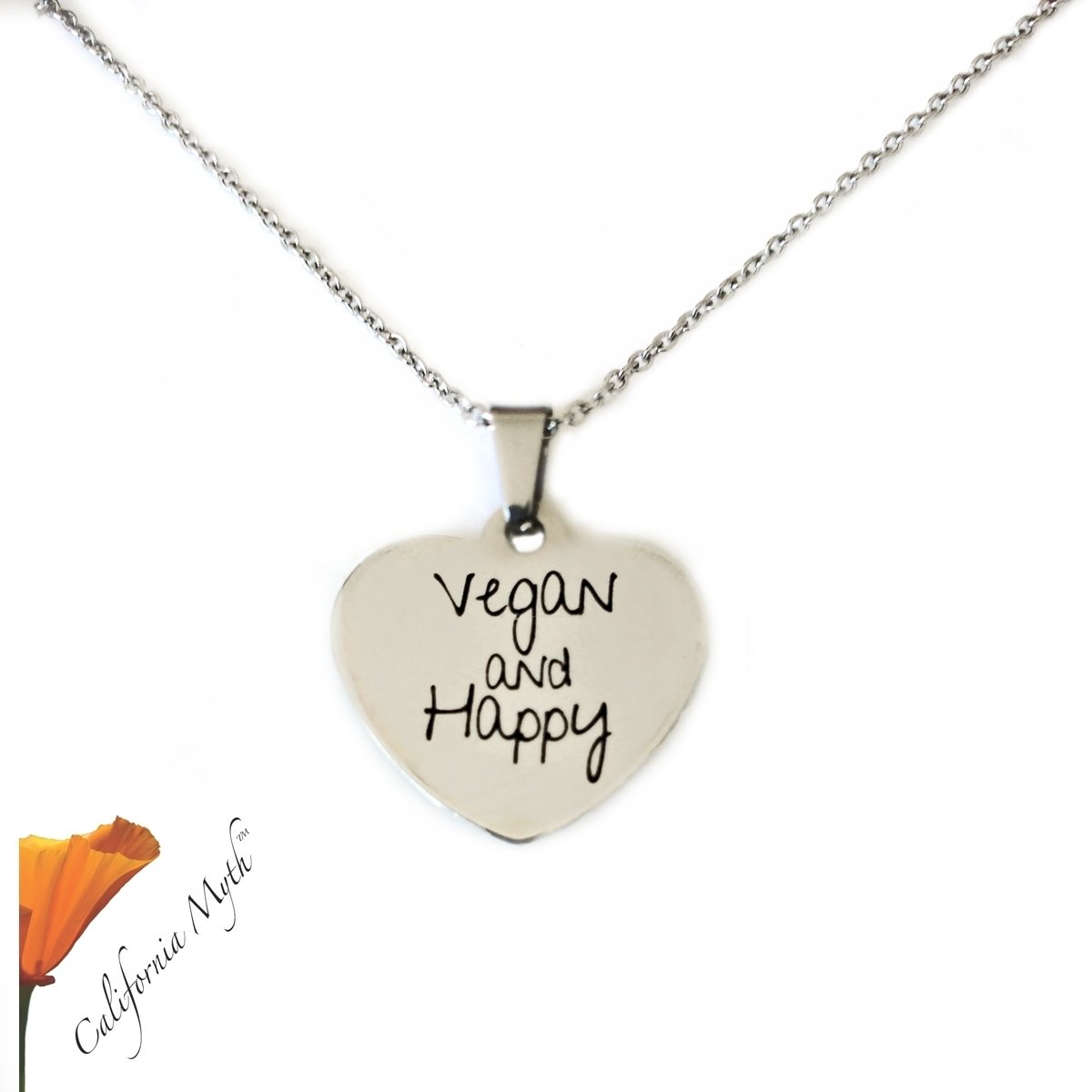 Vegan and Happy Heart Pendant Necklace