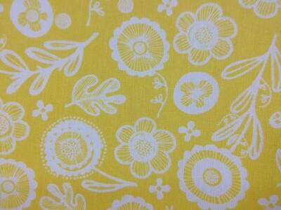 Sisustuskangas keltainen kukka