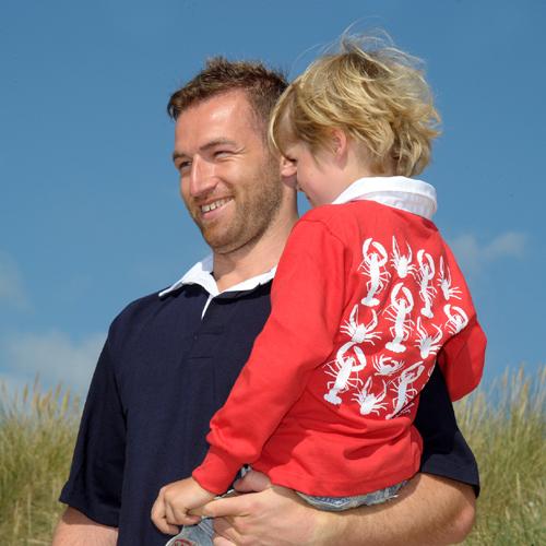 SALE 40% OFF Kids CRUSTACEAN Rugby Shirt in red (unisex) 00091