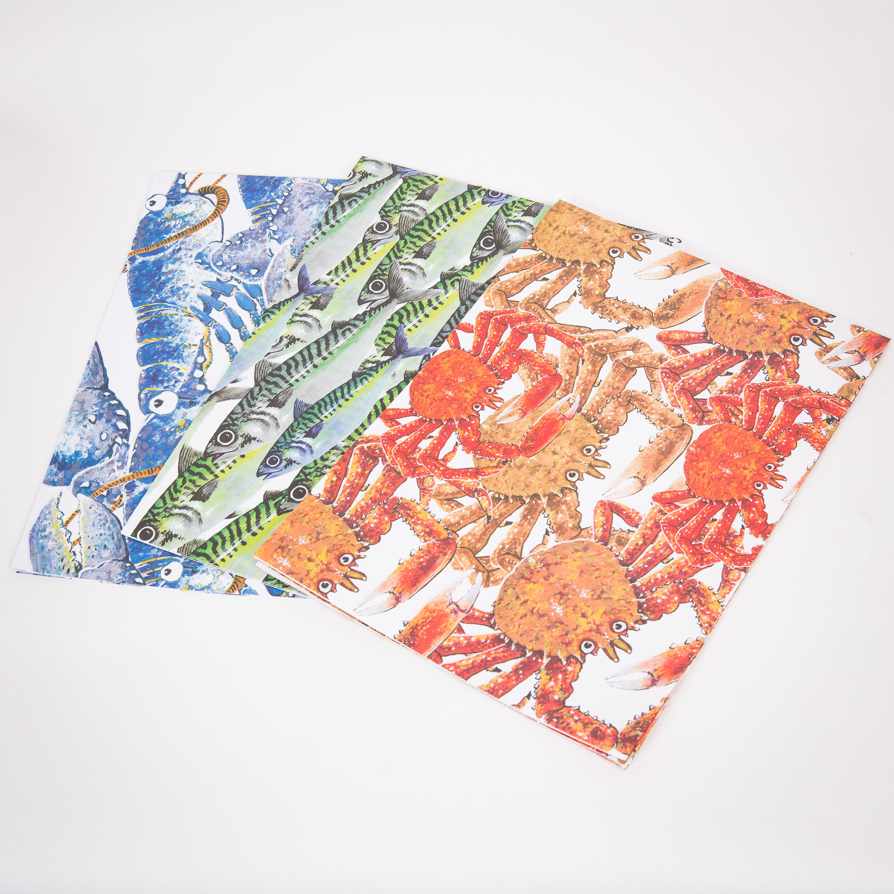 Wrapping Paper (3 unique designs - spider crab, mackerel, lobster) 00149