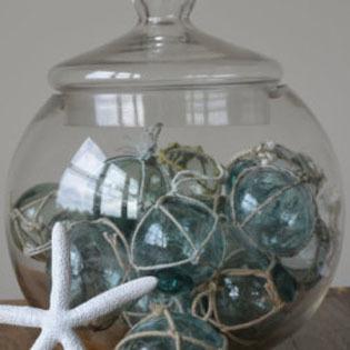 Glass buoy and resin starfish display