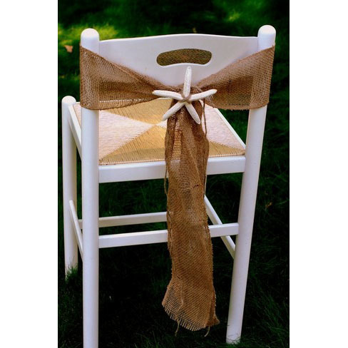 Even decorating the chairs with starfish, wedding decor