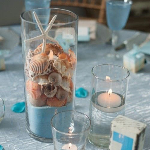 Table centre piece with starfish, wedding decor