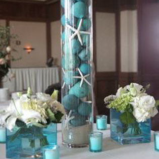 A tower of starfish & balls, wedding decor