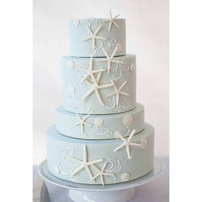 Starfish wedding cake decoration