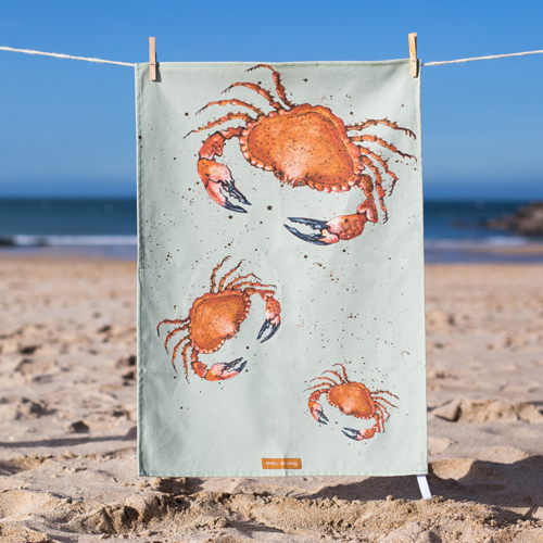 Cornish Crab T-Towel, design by Caroline Cleave 00198