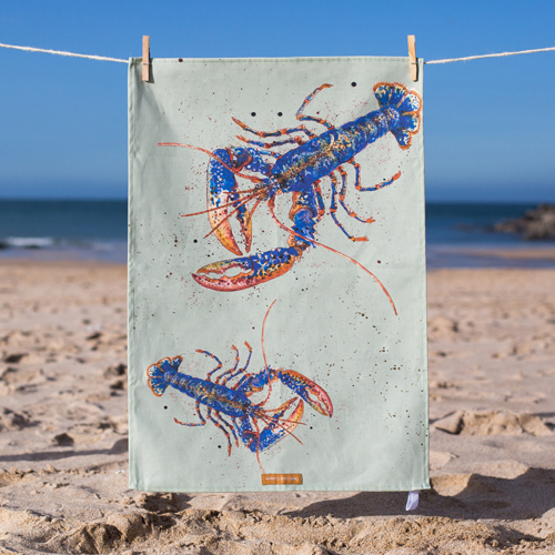 Cornish Lobster T-Towel, design by Caroline Cleave 00210