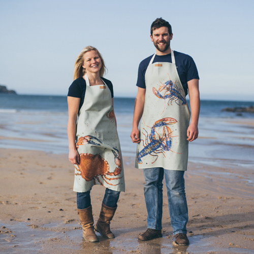 Cook's Apron - Two designs: Cornish Lobster or Crab, designs by Caroline Cleave