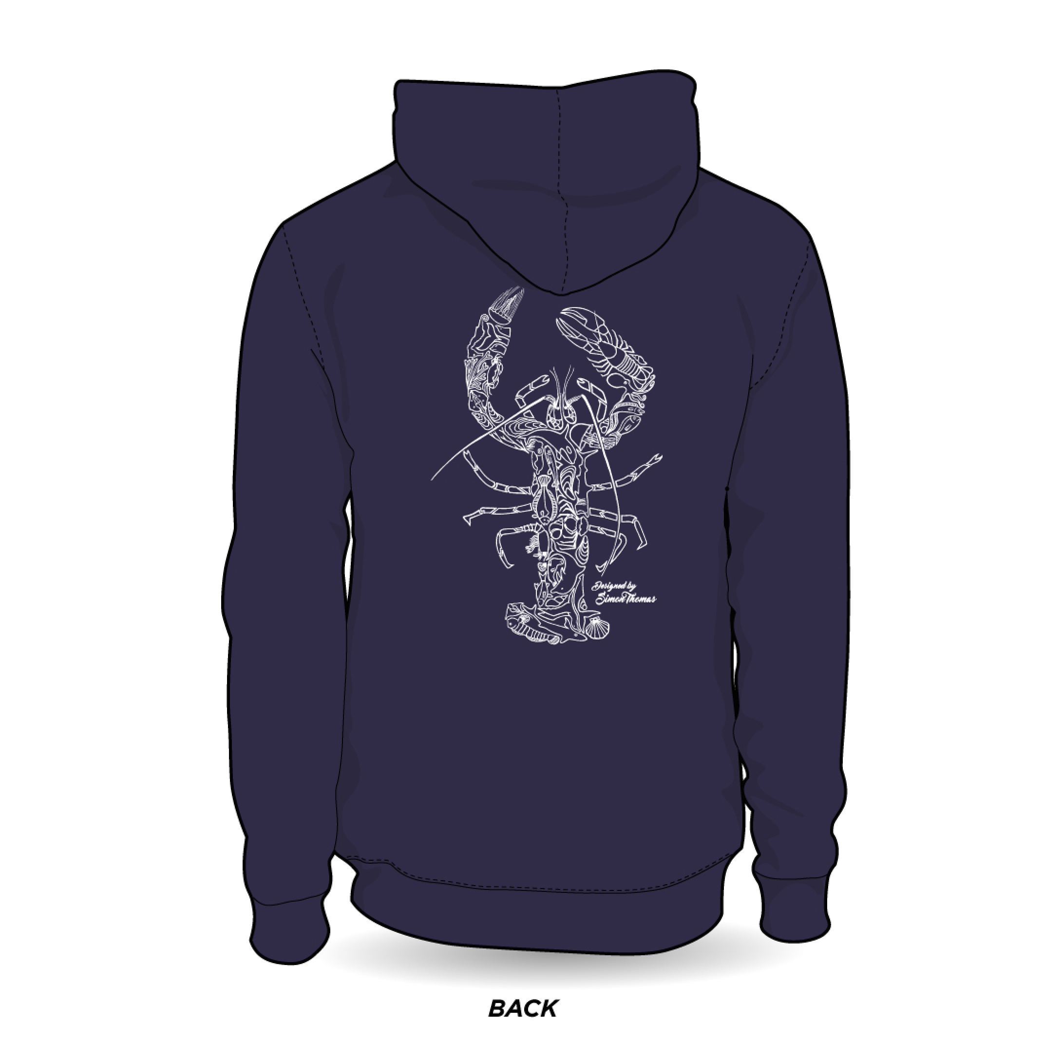 Adult Pullover Lobster Mosaic Hoody in Navy (unisex)