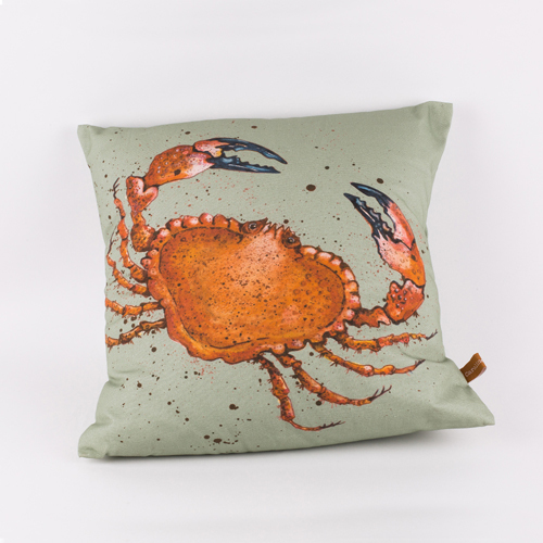 Cornish Crab Cushion, design by Caroline Cleave