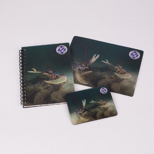 3D lobster notebook, magnet, postcard