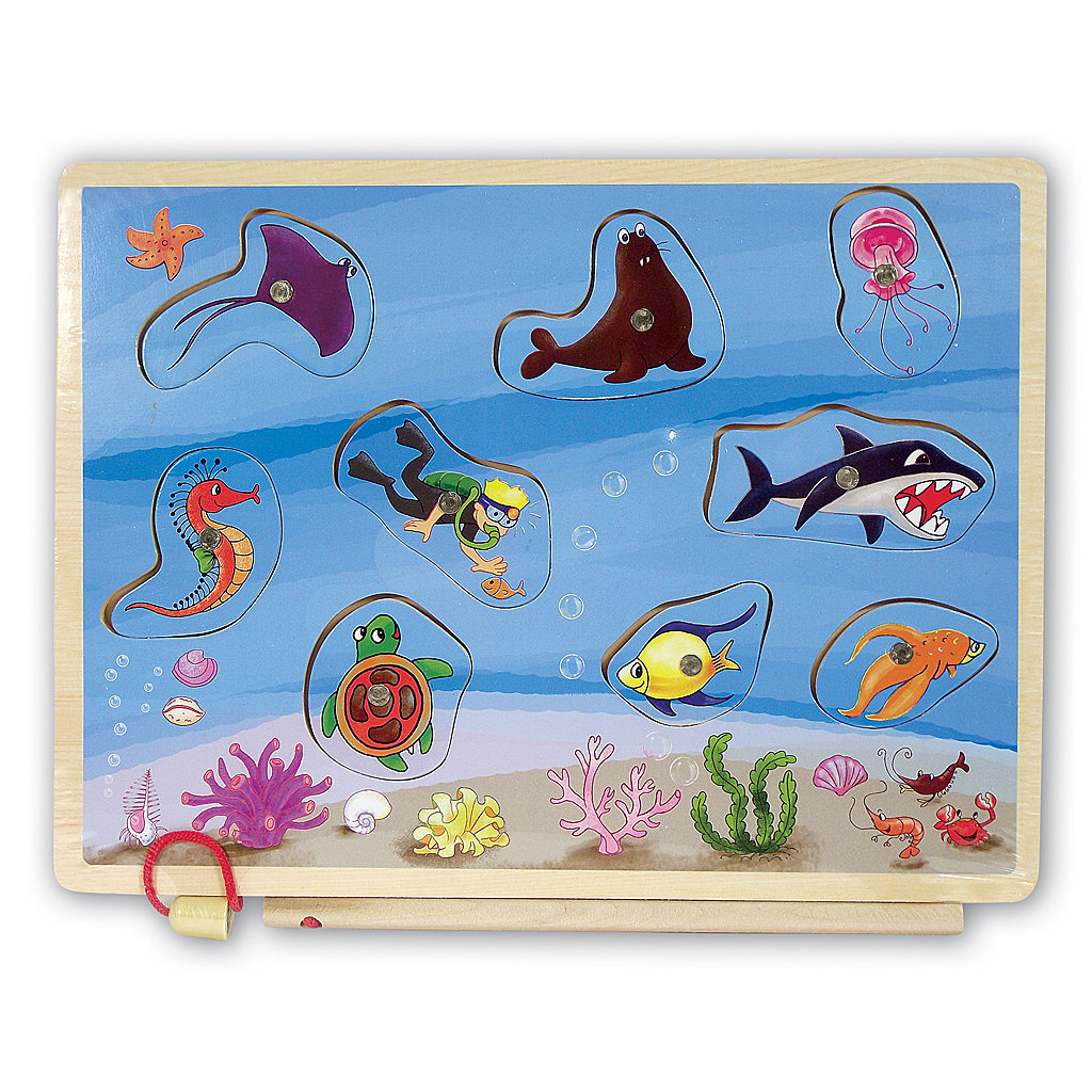 Sea Life with Diver Wooden Fishing Game 00292