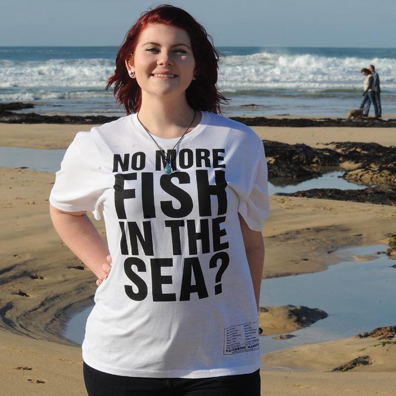 NO MORE FISH IN THE SEA Katharine Hamnett designer T-shirt 00058