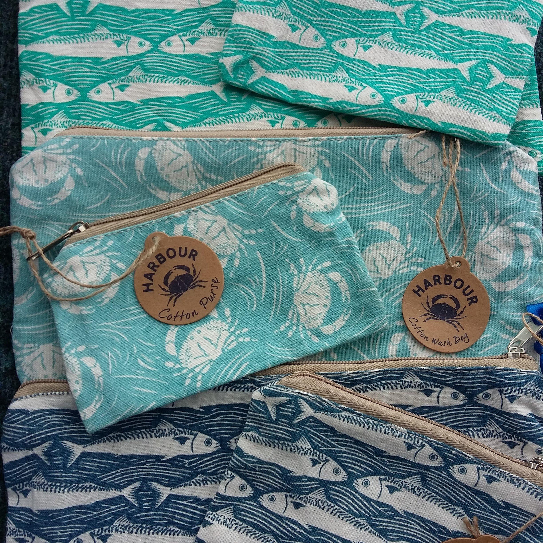 Sealife Fabric Bags, Make up Bag, Wash Bag or Pencil Case 00298