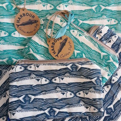 Sealife Fabric Bags, Make up Bag, Wash Bag or Pencil Case (Two Sizes)