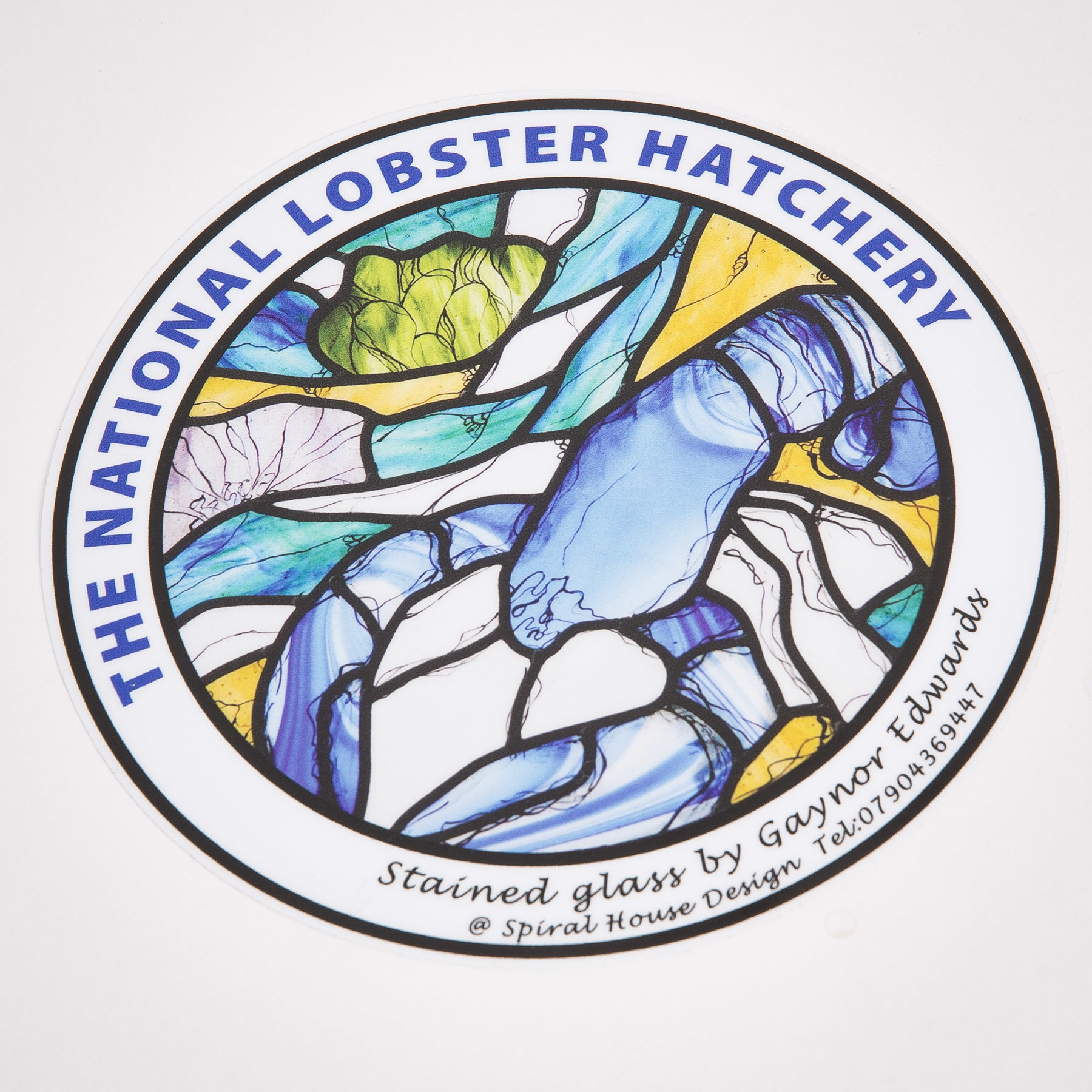 Padstow Lobster Car Sticker - Stained Glass Design 00347