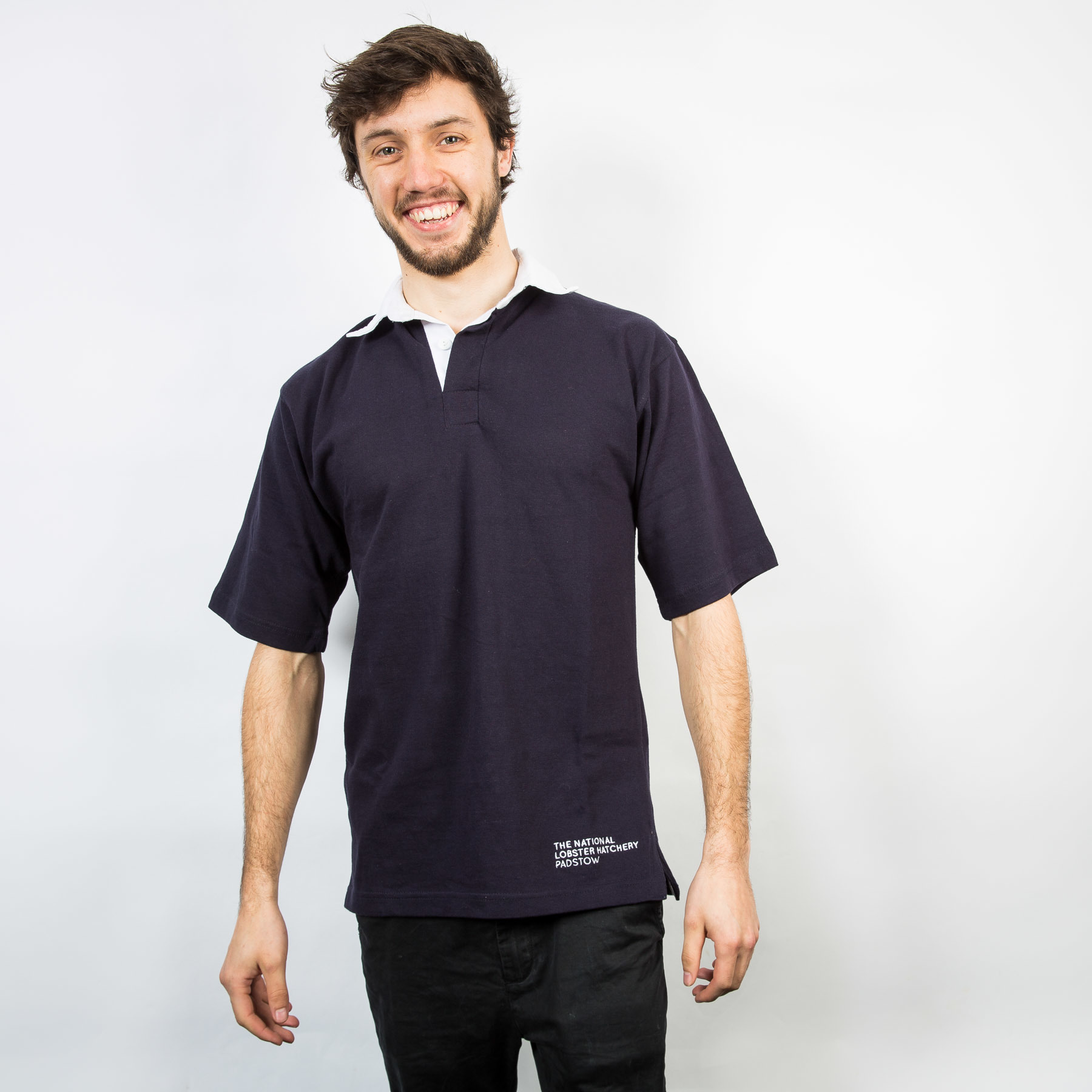 FINAL REDUCTION  Adult Short Sleeved Rugby Shirt in Navy
