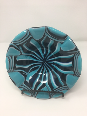 Light Cyan Ruffle Bowl