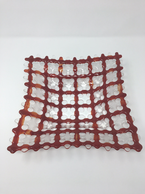 12 x 12 Red/Clear Glass Basket