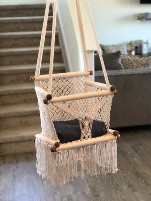 Baby swing chair Macramé, 100% natural cotton. FAST DELIVERY Shipping on 5 days to US and Canada