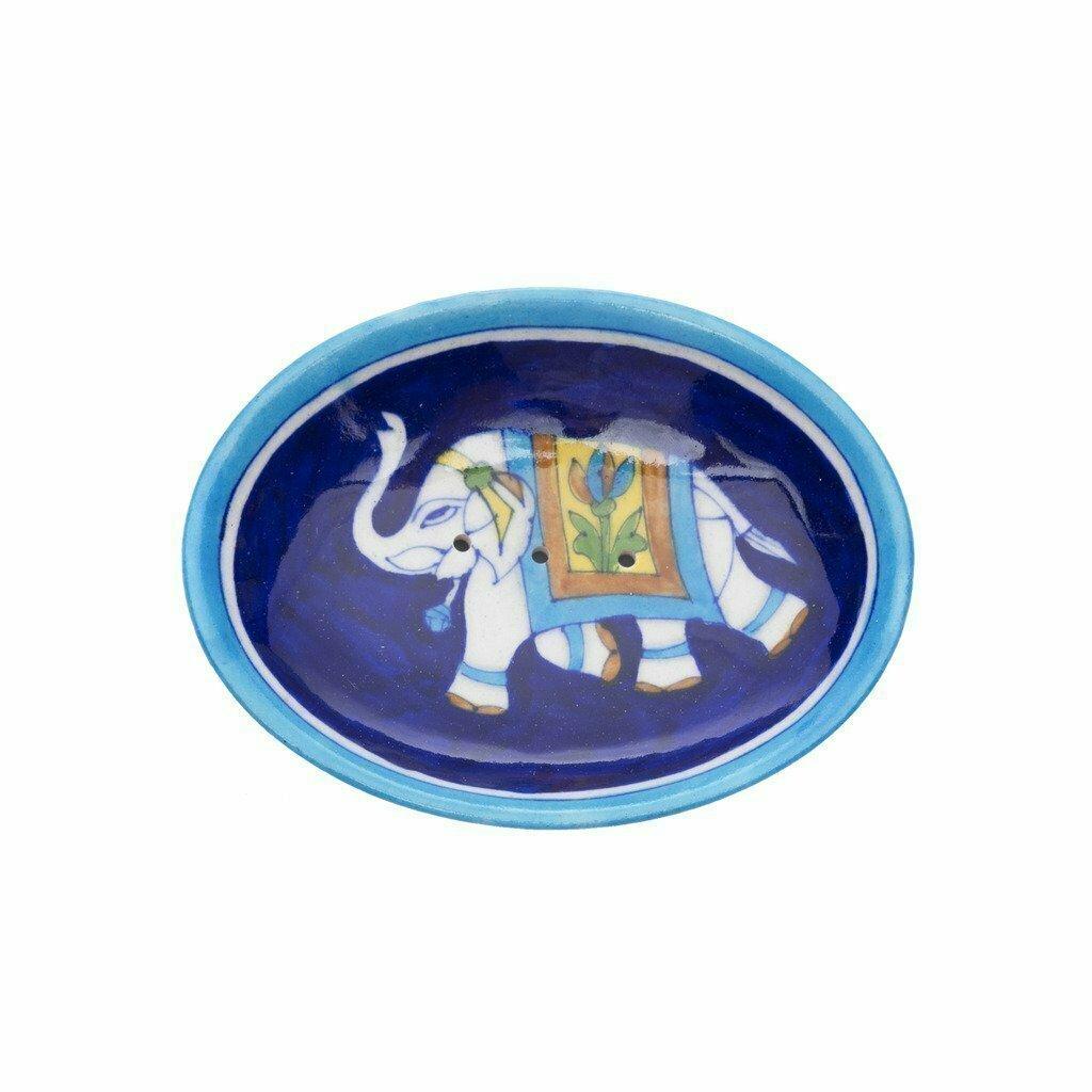 Blue Pottery Elephant Soap Dish - Indigo - Matr Boomie (Pottery)