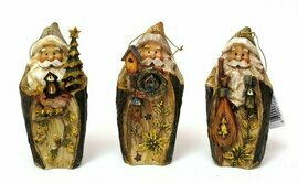Roman Carved Santa Ornament set3