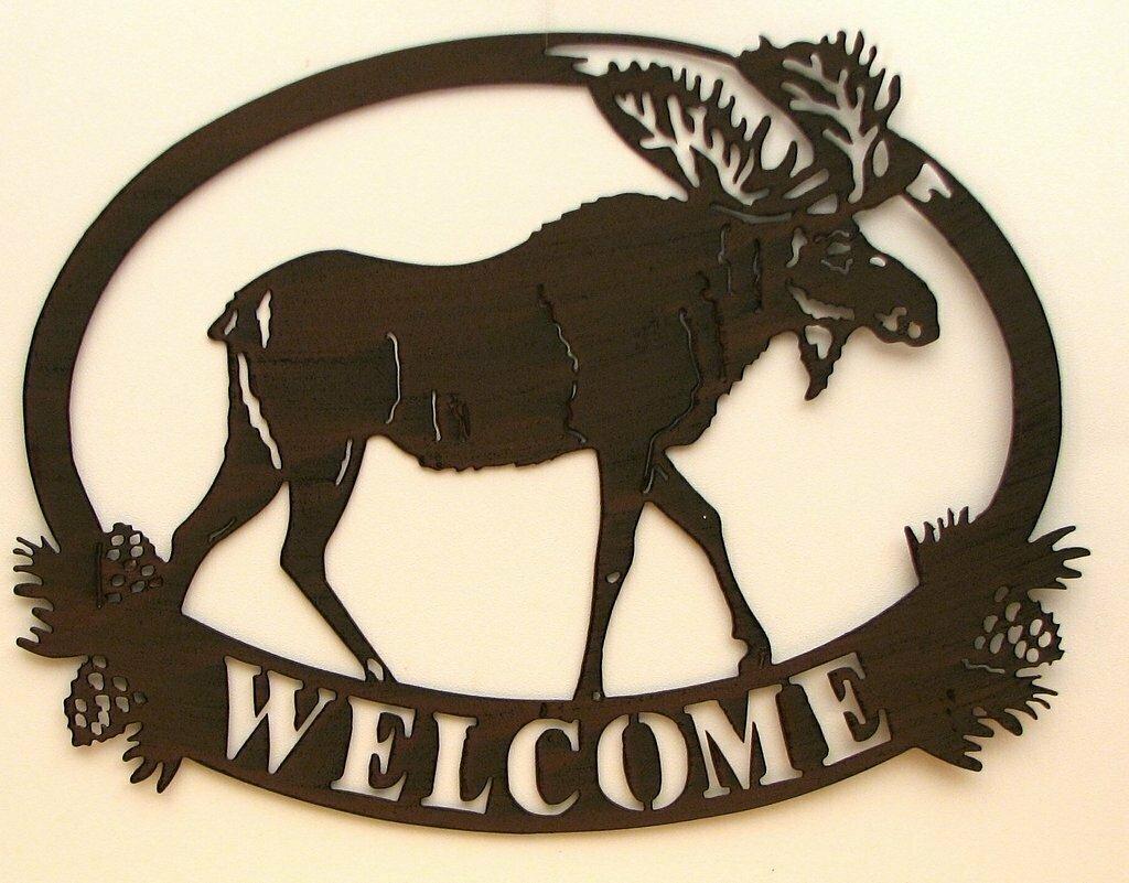 Metal Cutout Moose Décor