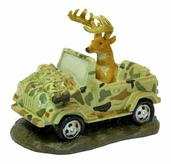 Deer Driving Jeep W Hunter Strapped To Hood
