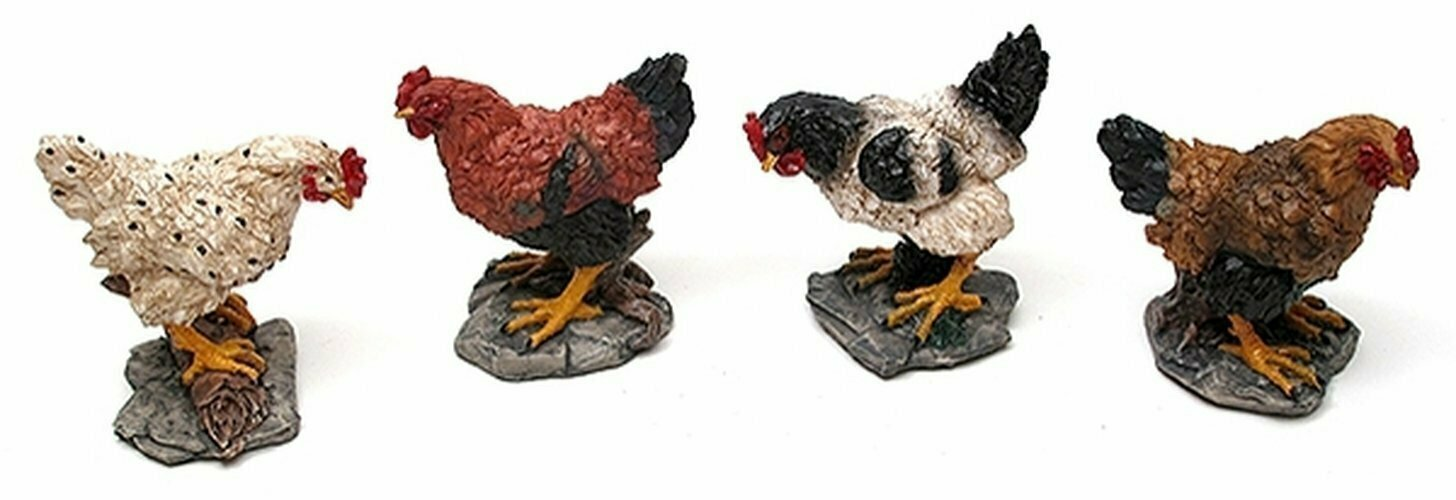 Miniature Chicken Figures Set of 4