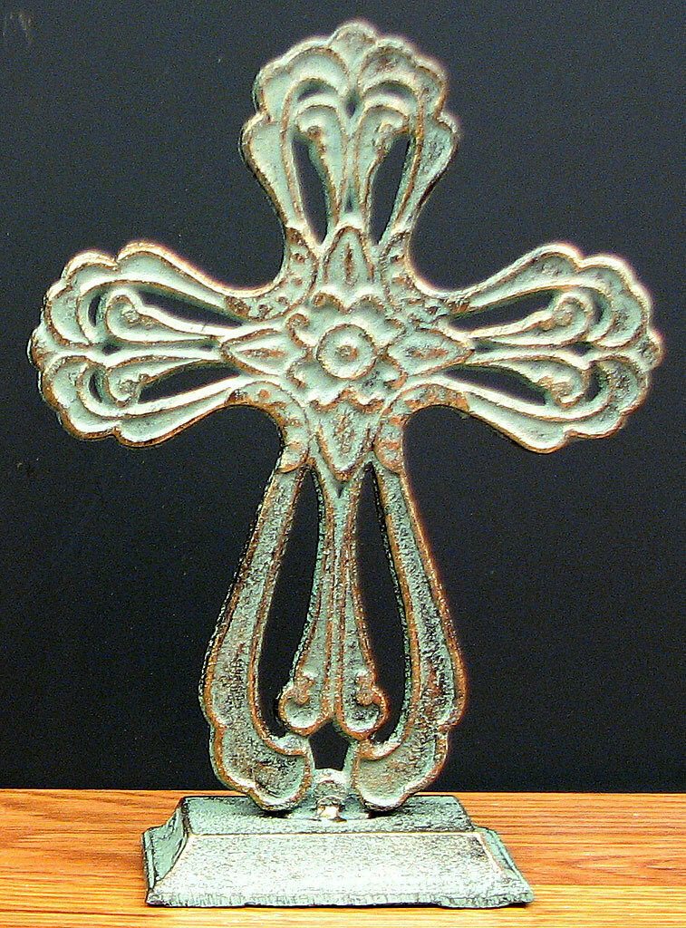 Cast Iron Tabletop Cross w/ Green/Gold Patina