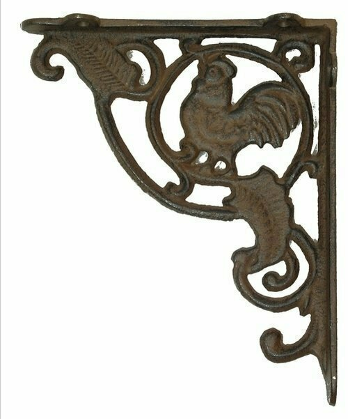 Rust Cast Iron Rooster Shelf Bracket Set of 2