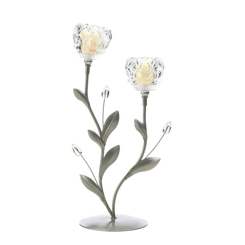 CRYSTAL FLOWER DUO CANDLEHOLDER