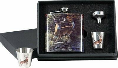 DEER 7 oz. Flask / Shot Glass Set