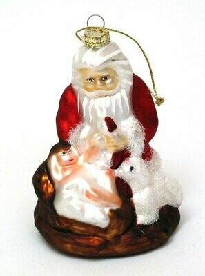 Roman Molded Glass Kneeling Santa Ornament